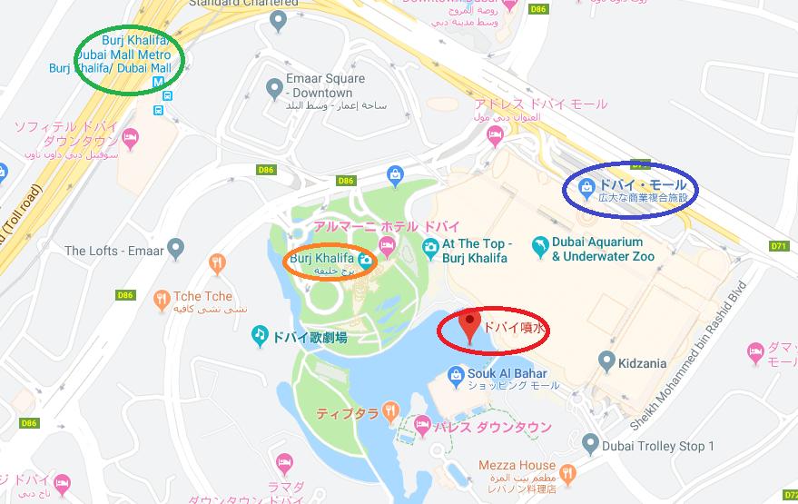 ドバイ・ファウンテン地図